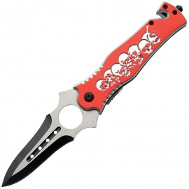 Skull Rescue Linerlock Red