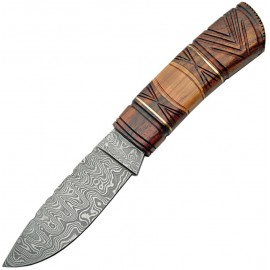 Fixed Blade Carved Wood Handle